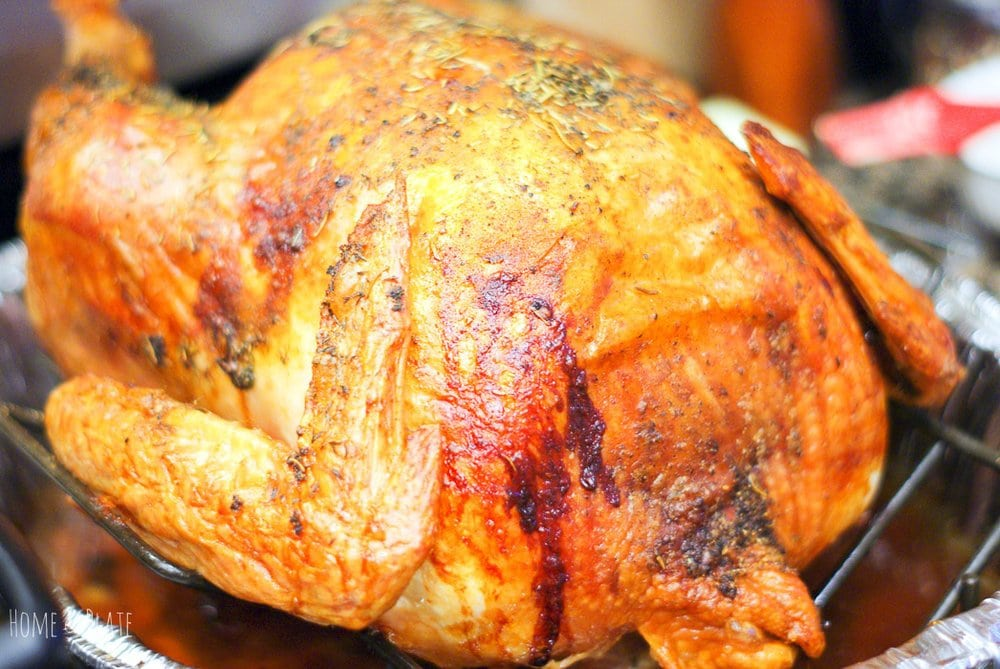 A brined oven roasted turkey