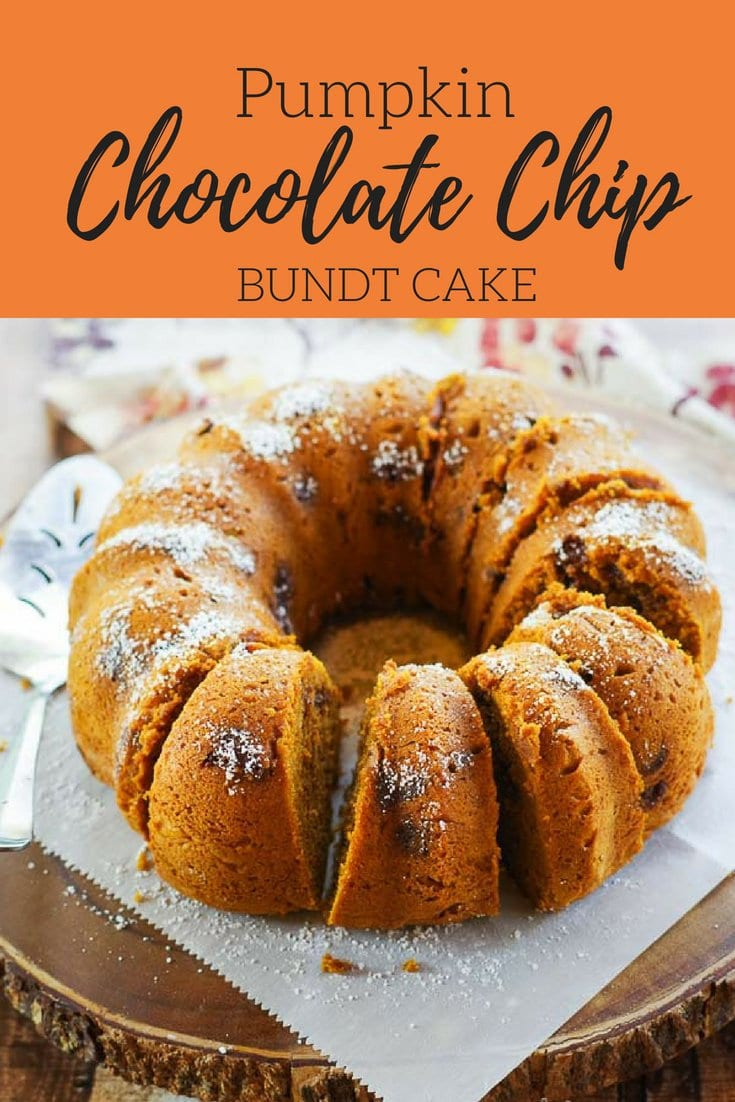 Pumpkin Chocolate Chip Bundt Cake | Pumpkin and chocolate come together in this moist and delicious fall dessert. Perfect for any party or holiday table! #pumpkincake #pumpkinchocolatechipcake #pumpkinchocolatebundtcake