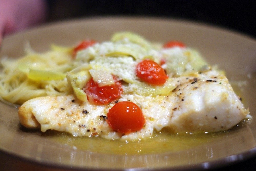 Baked Halibut with Artichokes & Tomatoes in a White Wine Sauce   Home & Plate   www.homeandplate.com