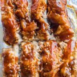 Closeup of baked barbecue ribs