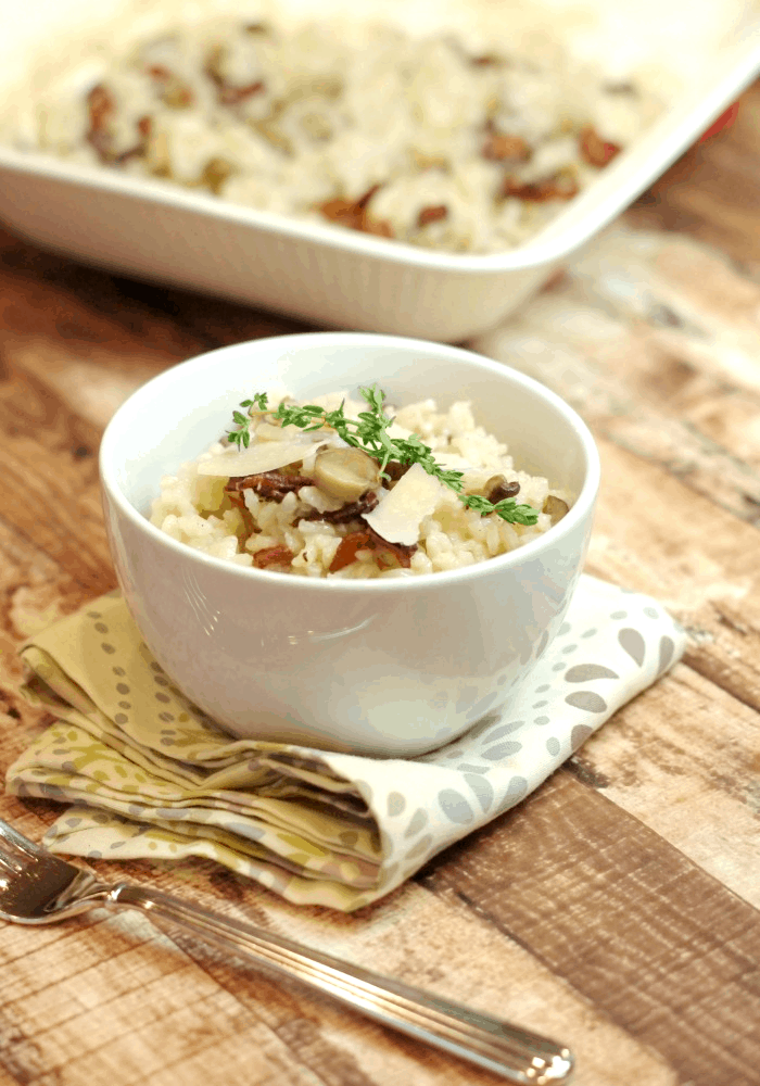 Oven Baked Risotto with Bacon & Mushrooms