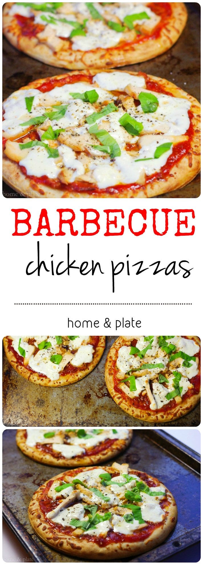 Individual Barbecue Chicken Pizzas | Home & Plate | www.homeandplate.com | Leftover barbecued chicken paired with sweet and spicy barbecue sauce with fresh mozzarella cheese – Yum