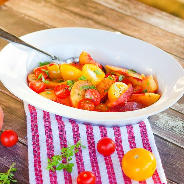 Peach, Tomato & Basil Salad | Home & Plate | www.homeandplate.com | Fresh, juicy ripe peaches. Sweet red and yellow tomatoes picked fresh from the vine and fragrant basil. Isn