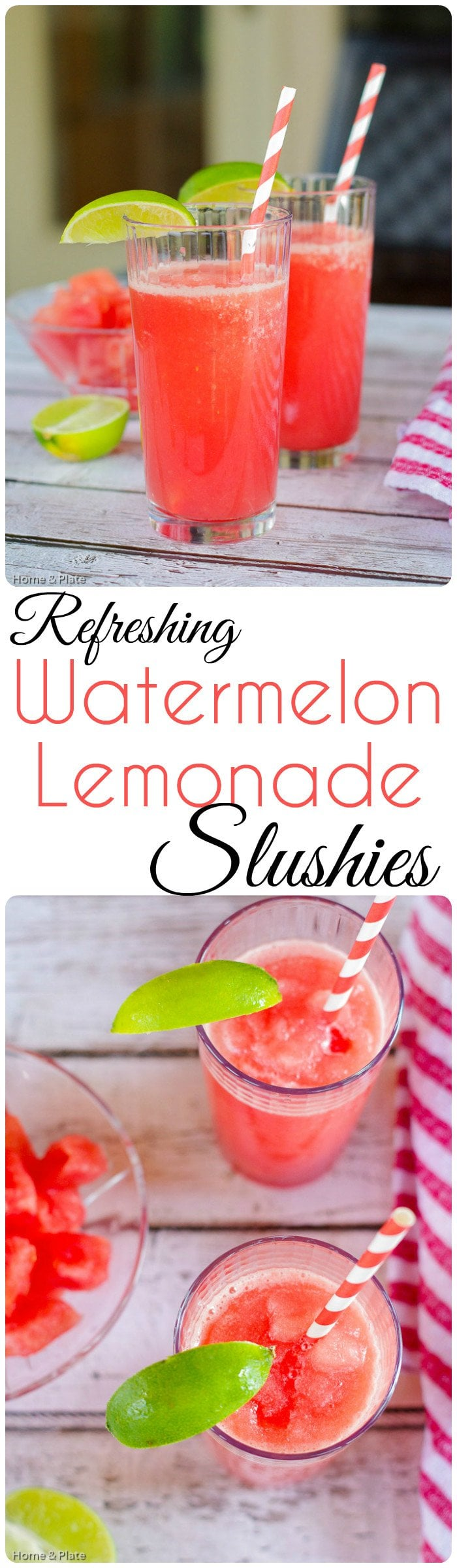 Refreshing Watermelon Lemonade Slushies | Home & Plate | www.homeandplate.com | Watermelon and lemonade are two great ways to stay cool during the dog days of summer.