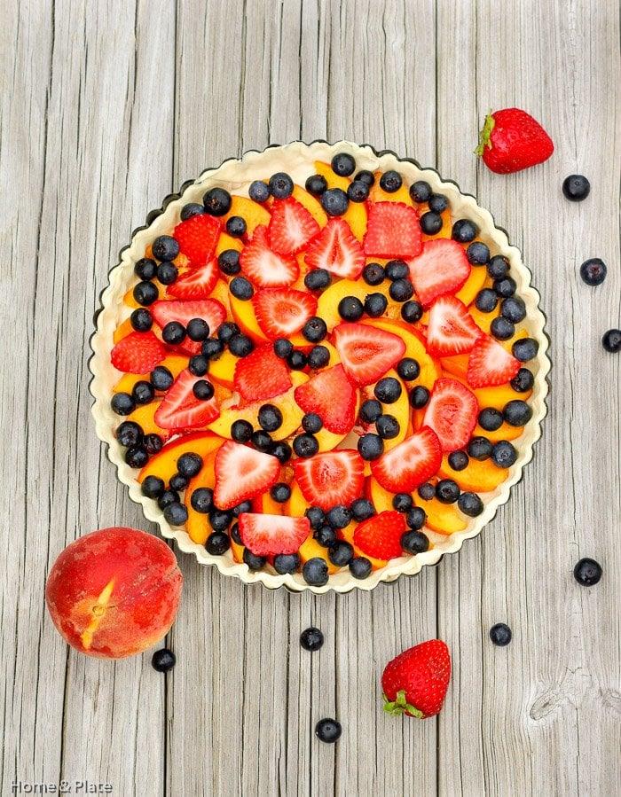 Classic Peach Tart with Summer Berries