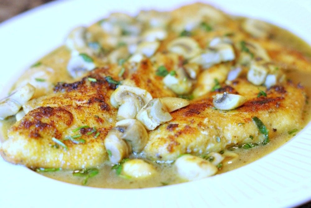 Breaded Chicken Cutlets with Herbed Mushrooms | Home & Plate | www.homeandplate.com | The earthy flavor of the mushrooms comes alive with the fresh herbs.