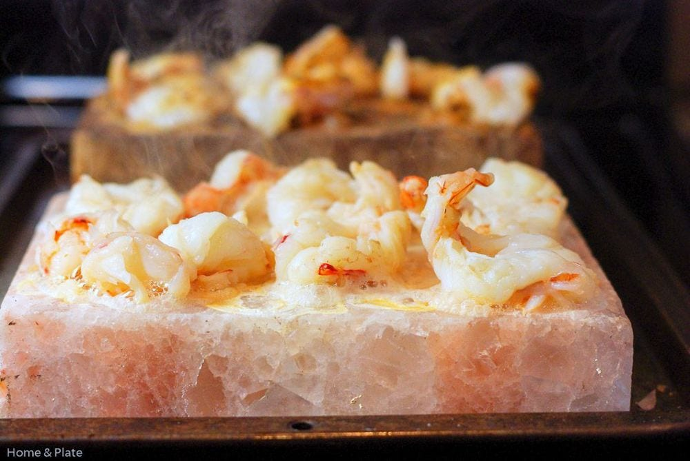 Salt Block Seared Shrimp | Home & Plate | www.homeandplate.com | A salt block literally transforms the taste of anything you cook on it.