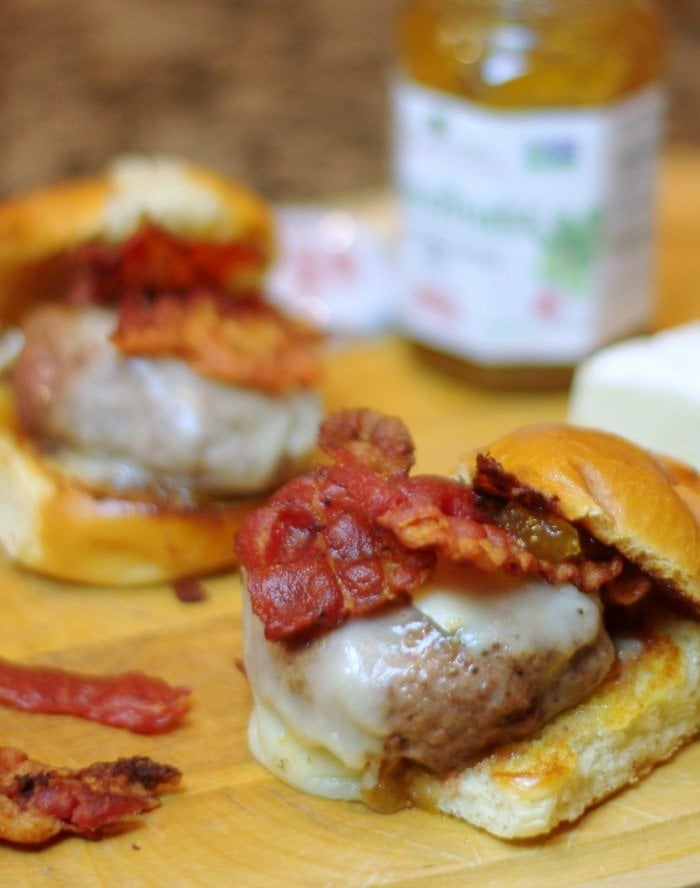 Sliders with Bacon, Brie & Fig Jam | Home & Plate | www.homeandplate.com