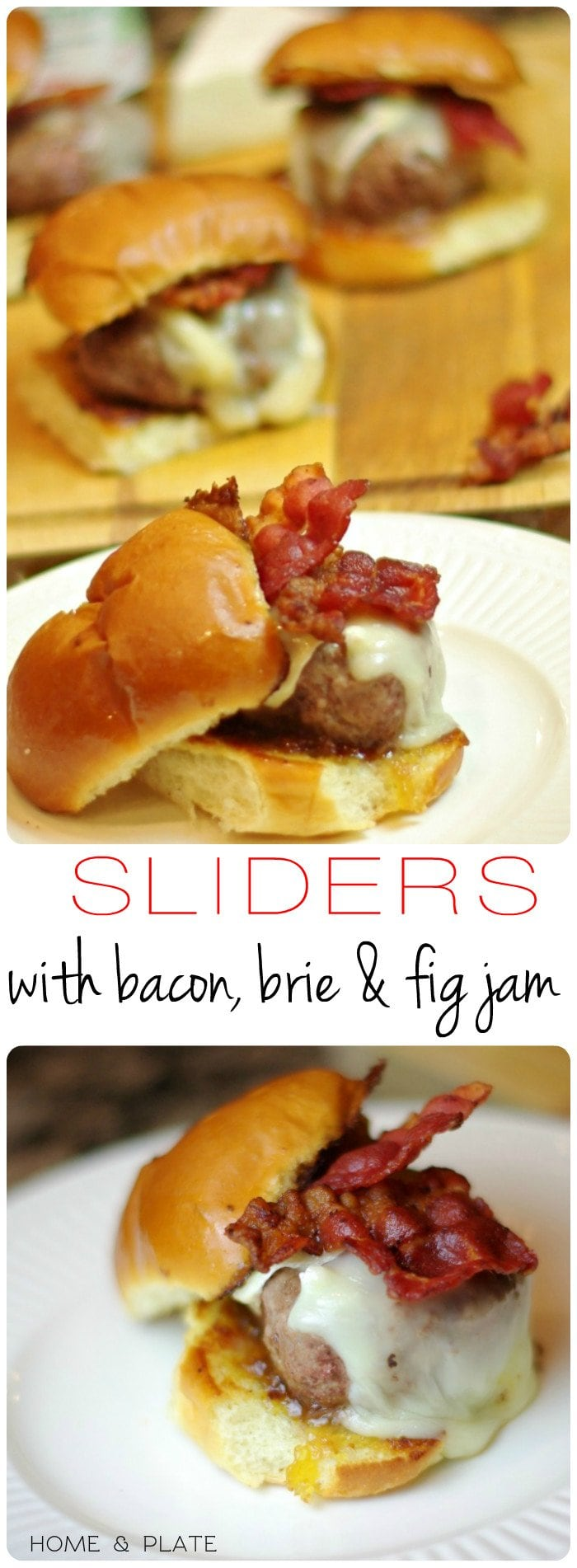 Sliders with Bacon, Brie & Fig Jam | Home & Plate | www.homeandplate.com | The taste of the Brie is buttery and creamy and melts quickly on the burger.The fig jam is the sweet condiment that binds the salty flavor of the bacon with the mild flavor of the meat.