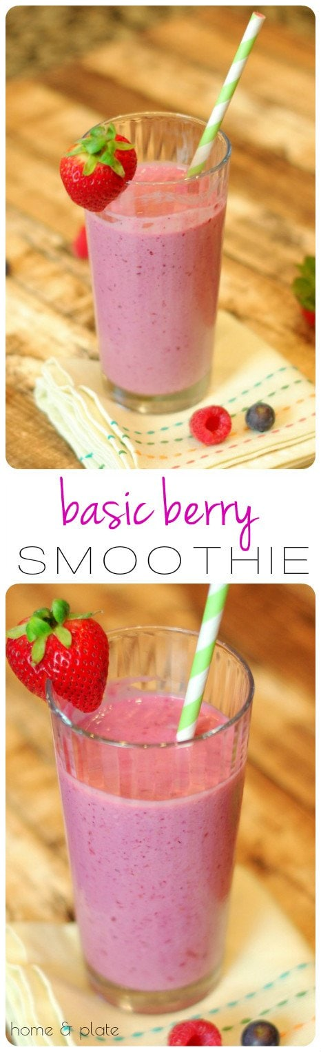 Basic Berry Smoothie | Home & Plate | www.homeandplate.com | Greek yogurt is the key ingredient in this basic, simple smoothie which takes no time to make.