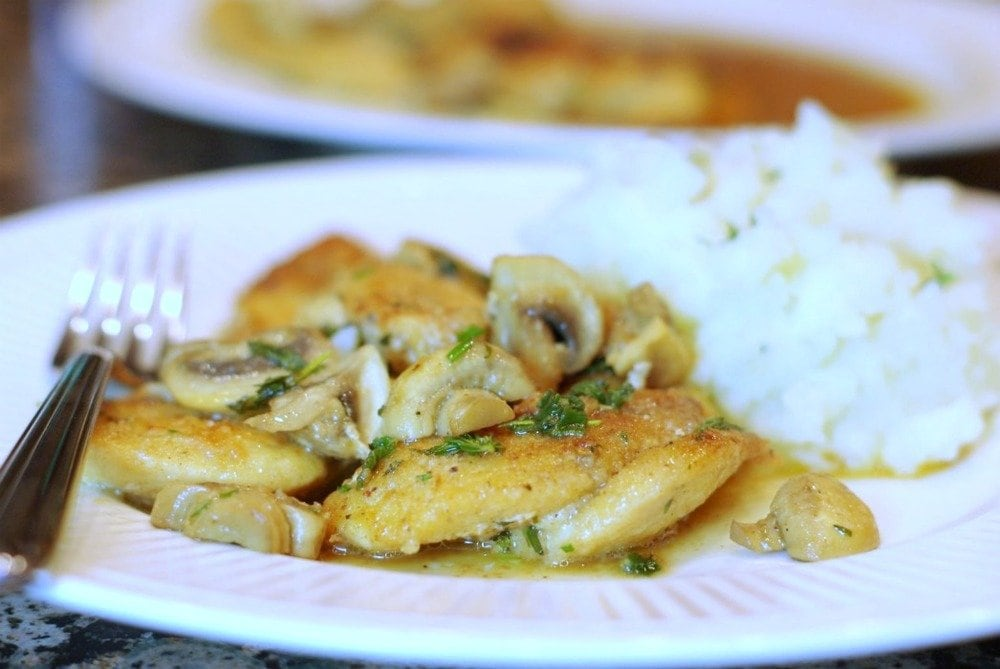 Breaded Chicken Cutlets with Herbed Mushrooms