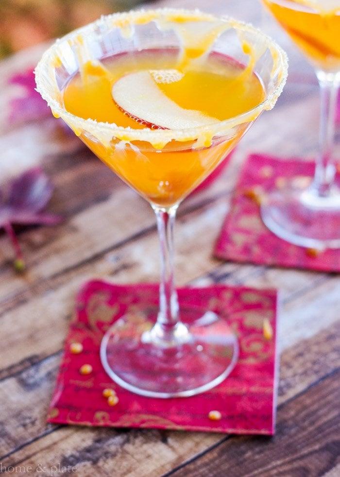 Close up of fresh apple cider vodka cocktail