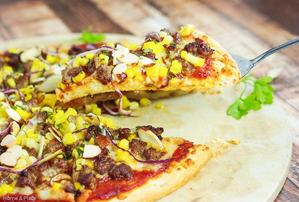 Sausage Corn & Havarti Pizza