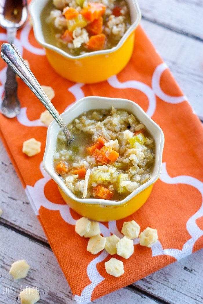 Gobble-Good Roasted Turkey & Rice Soup | www.homeandplate.com | This soup is filling and hearty and makes great use of leftover turkey in a way that