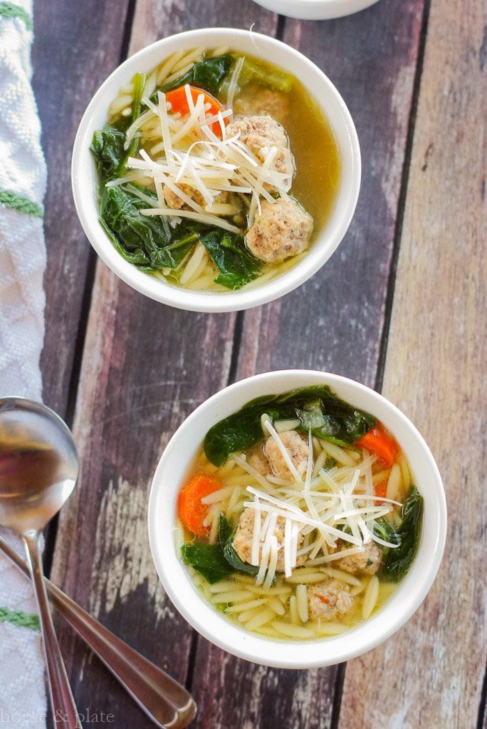 Spinach Soup with Mini Meatballs & Orzo