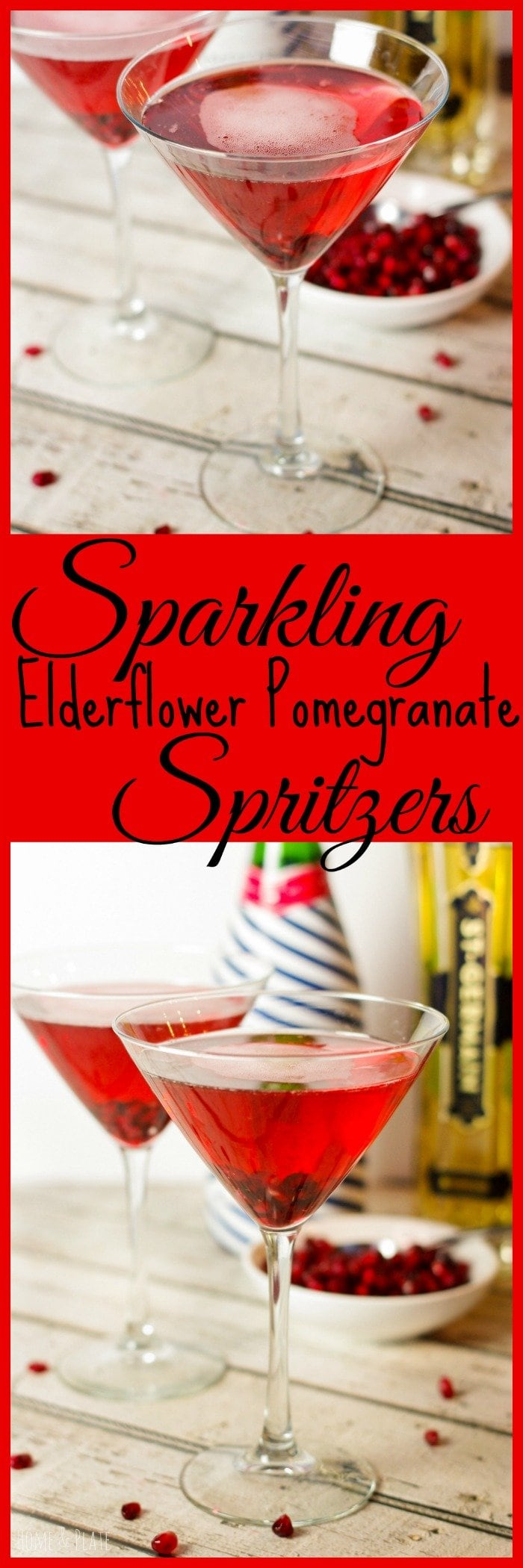 Sparkling Elderflower Pomegranate Spritzers | www.homeandplate.com | This cocktail is sweet and tart and is the perfect option for any festive gathering including Christmas Day and your New Year