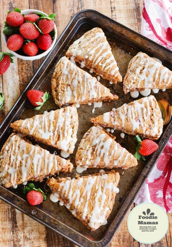 Whole-Wheat Strawberry Ricotta Scones with a Lemon Glaze