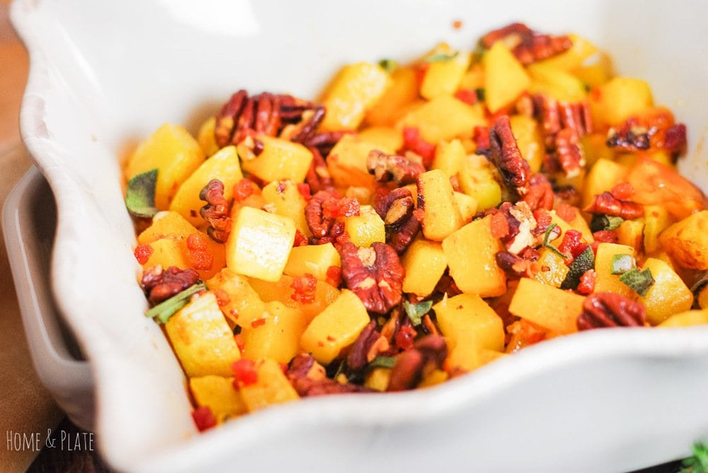 Maple Cayenne Butternut Squash with Pancetta & Pecans