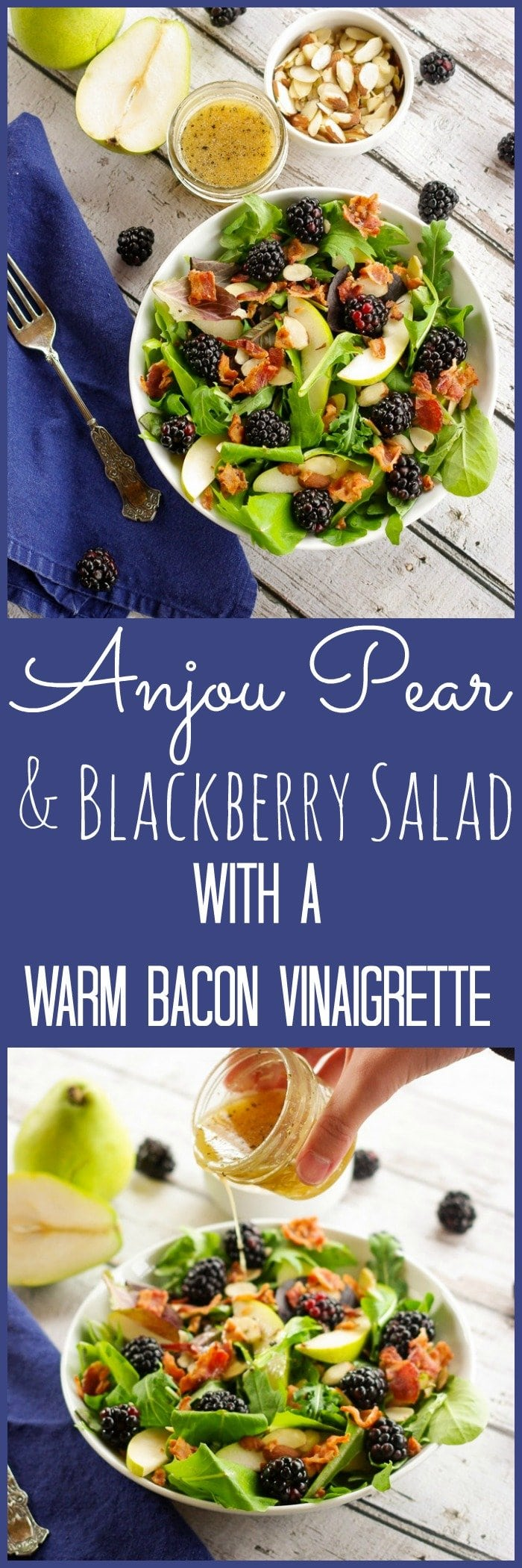 Anjou Pear & Blackberry Salad with a Warm Bacon Vinaigrette | www.homeandplate.com | My Anjou Pear & Blackberry Salad with a Warm Bacon Vinaigrette is the perfect way to start any holiday meal.