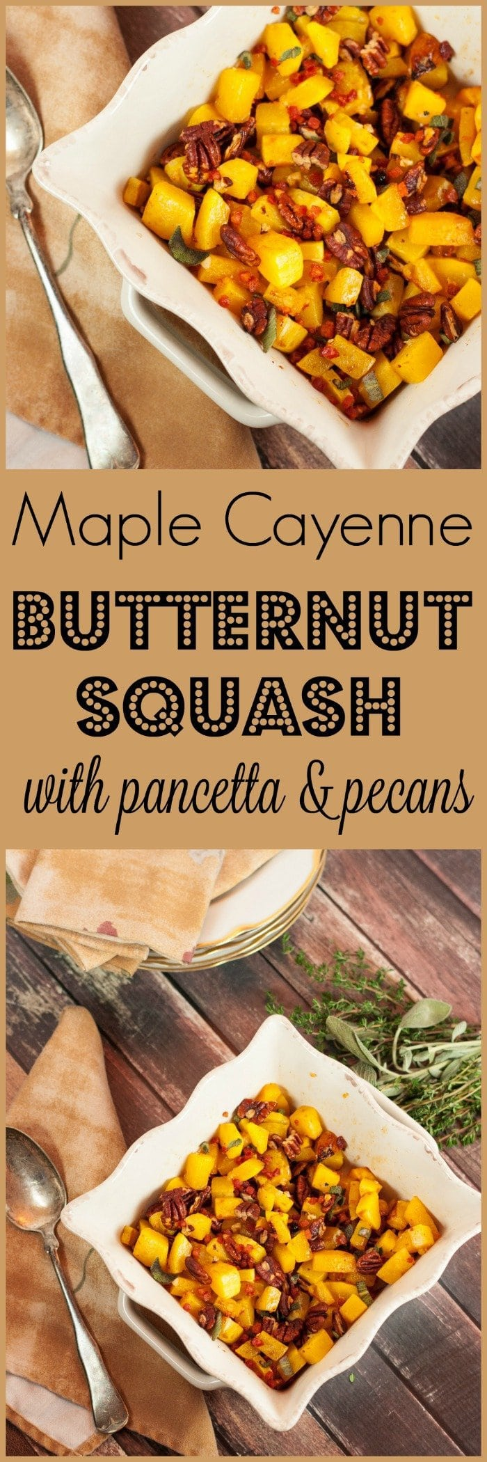 Maple Cayenne Butternut Squash with Pancetta and Pecans | www.homeandplate.com | This maple butternut squash has a kick of cayenne and is paired with the crunch of toasted pecans and salty pancetta.