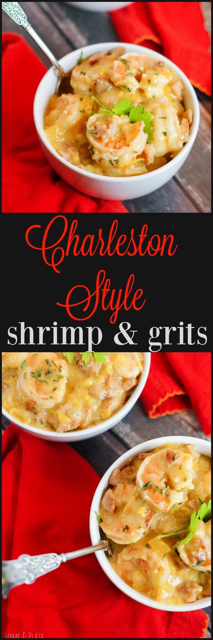 Charleston Style Shrimp & Grits | The shrimp is pink and tender, the course grits are creamy and cheesy and the heat from the andouille sausage will warm your belly.