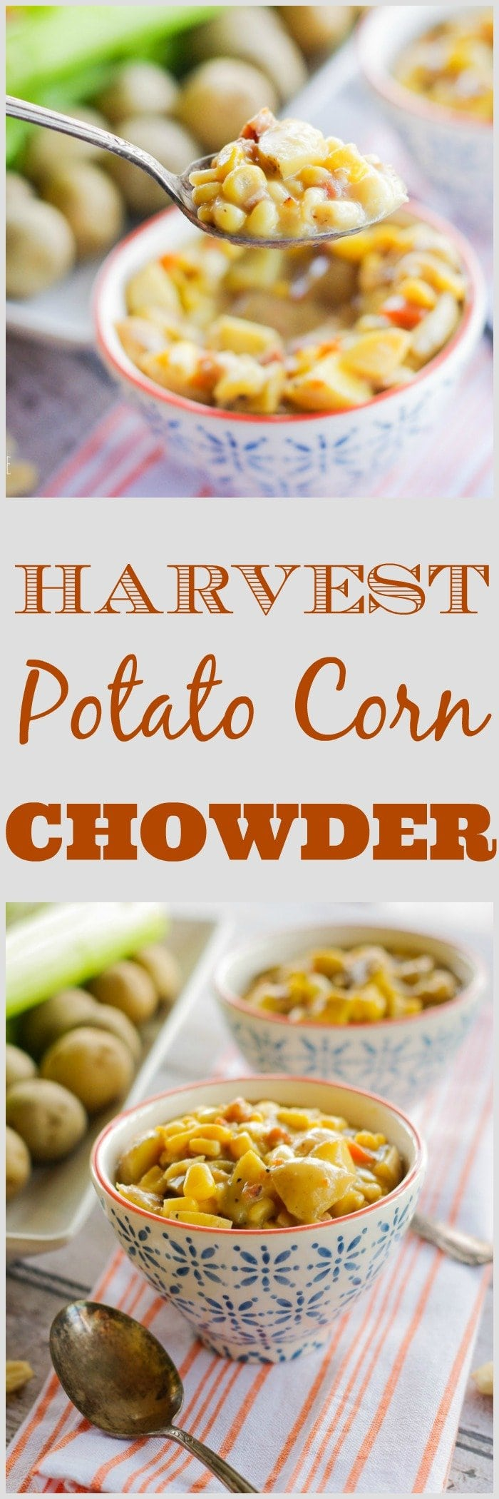 Harvest Potato Corn Chowder   www.homeandplate.com   Tender chunks of potato, crispy bits of pancetta, summer sweet crisp corn make up this hearty soup.