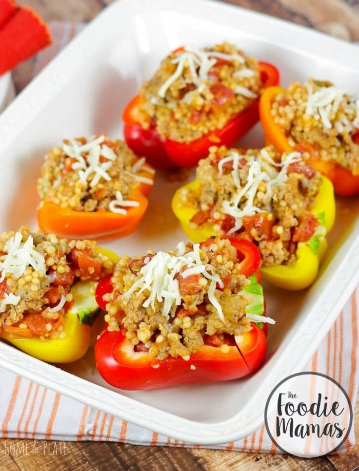 Wholesome Rainbow Couscous Stuffed Peppers | www.homeandplate.com | Explore the colors of the rainbow with this low-sodium, high-fiber, healthy delicious dinner.