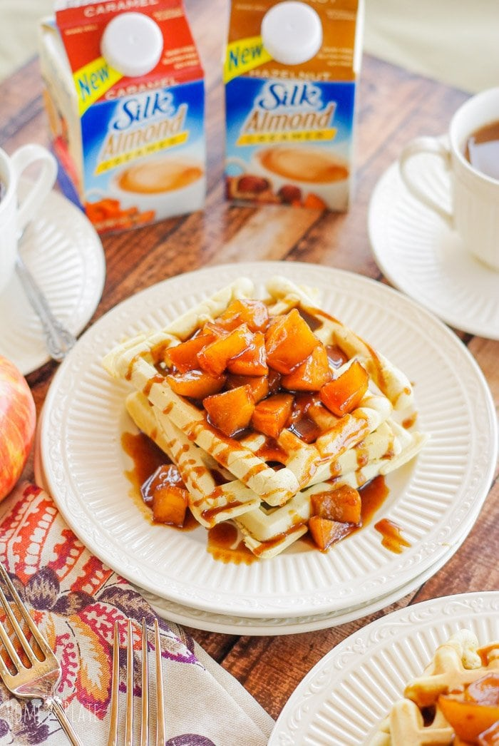 Fluffy Caramel Almond Waffles with a Cinnamon Apple Syrup | www.homeandplate.com | Perk up your mornings with the nutty aroma of almonds and caramel by swapping in coffee creamer in place of milk in your favorite pancake or waffle recipe. #SilkSipToSpoon #ad