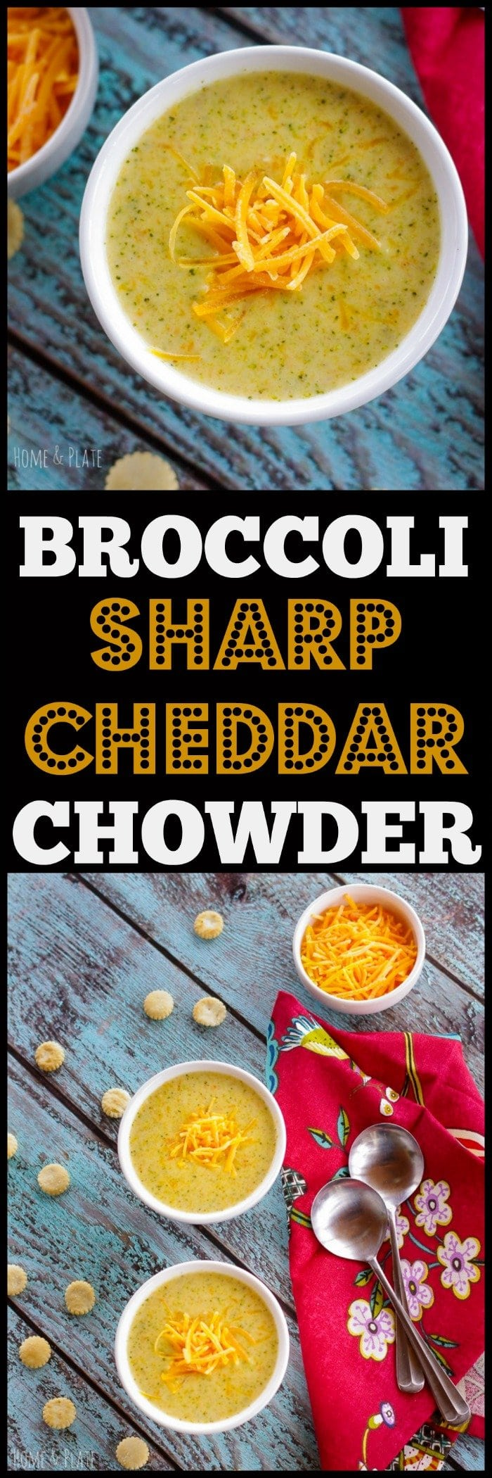 Broccoli Sharp Cheddar Chowder | www.homeandplate.com | Create a delicious sharp cheddar broccoli chowder in under 30 minutes with this super easy recipe.