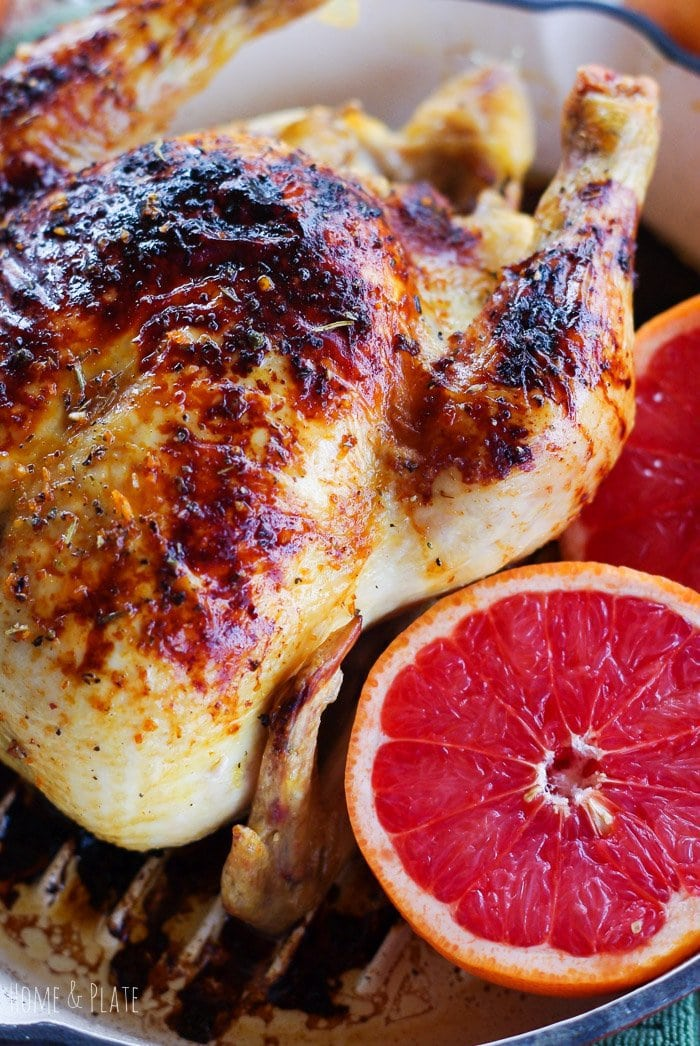 Ruby Red Grapefruit Honey Glazed Skillet Chicken | www.homeandplate.com | Transform a basic roasted whole chicken into something spectacular with a squeeze of ruby red grapefruit juice and a drizzle a sweet local honey.