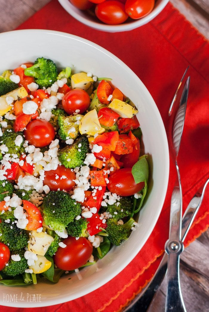 Roasted Rainbow Winter Salad with Broccoli and Squash