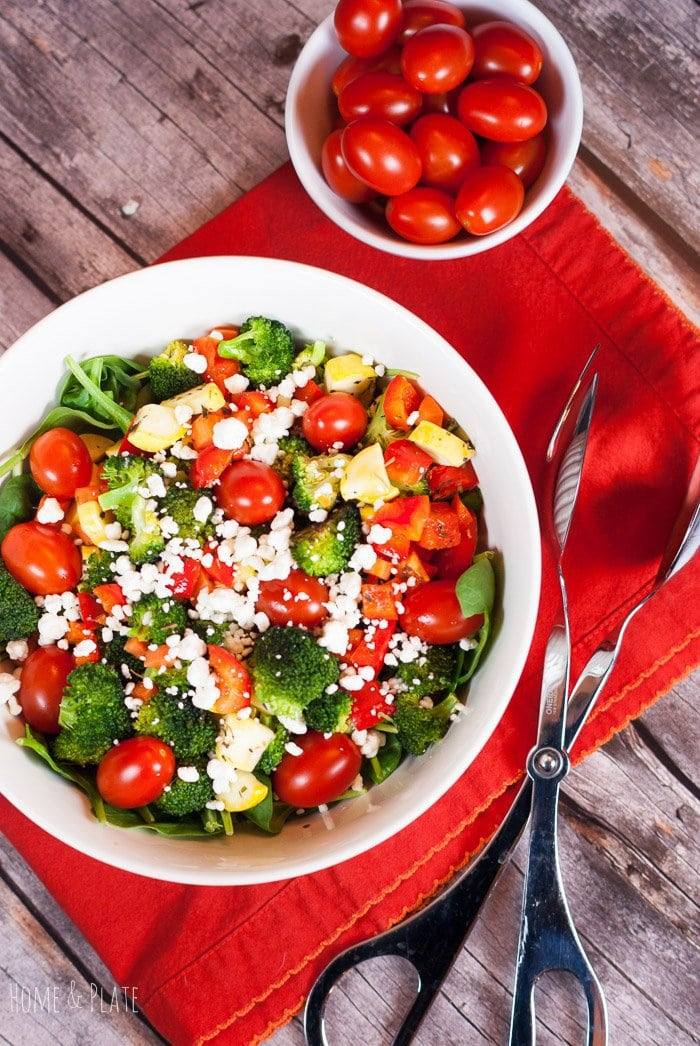 Roasted Rainbow Winter Salad with Broccoli and Squash | www.homeandplate.com | By roasting the broccoli and the other veggies in the salad with some dried herbs the taste was transformed into something fabulous.