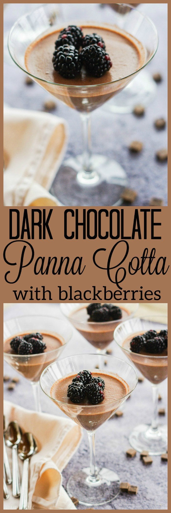 Dark Chocolate Panna Cotta with Fresh Blackberries | www,homeandplate.com | It