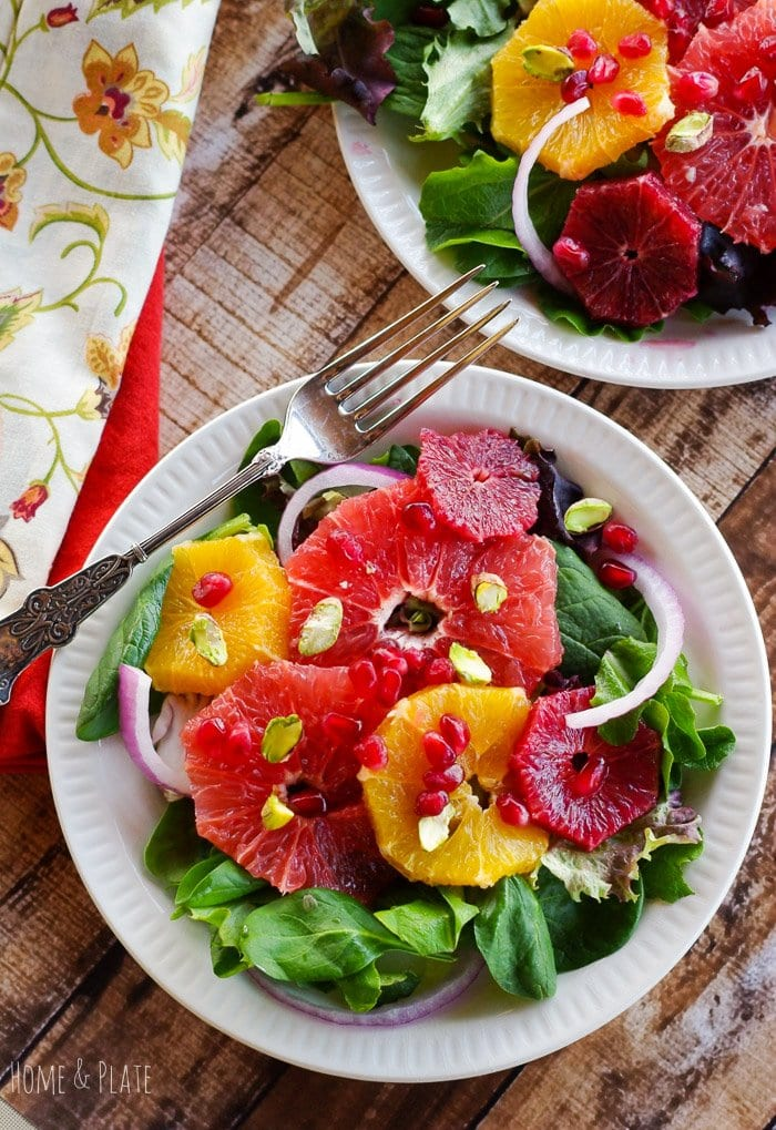 Winter Sweet Citrus Salad with Pomegranate & Pistachios | www.homeandplate.com | Celebrate Valentine