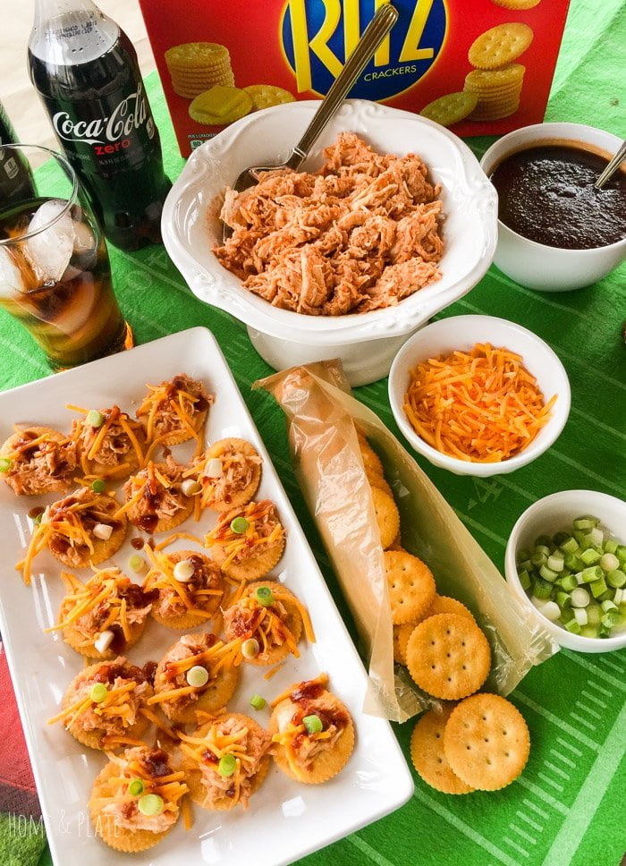 Sweet & Saucy Shredded Chicken Toppers | www.homeandplate.com | Score rave reviews with your biggest fans at your next tailgate with these Sweet & Saucy Shredded Chicken Toppers featuring buttery RITZ® Crackers and Coke Zero. #ScoreMoreFans #ad
