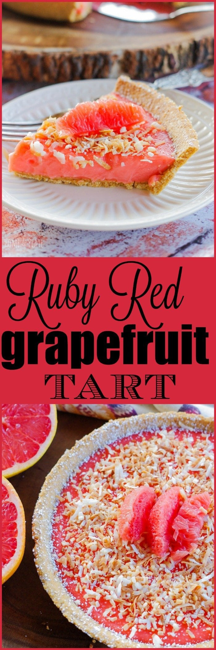 Ruby Red Grapefruit Tart | www.homeandplate.com | The floral notes of sweet grapefruit curd pair perfectly with the graham cracker crust.
