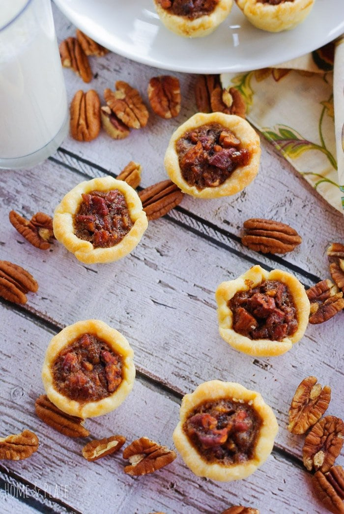 Bite-sized Pecan Tassies | www.homeandplate.com | If pecan pie is a favorite dessert in your house then these Bite-sized Pecan Tassies are sure to please.