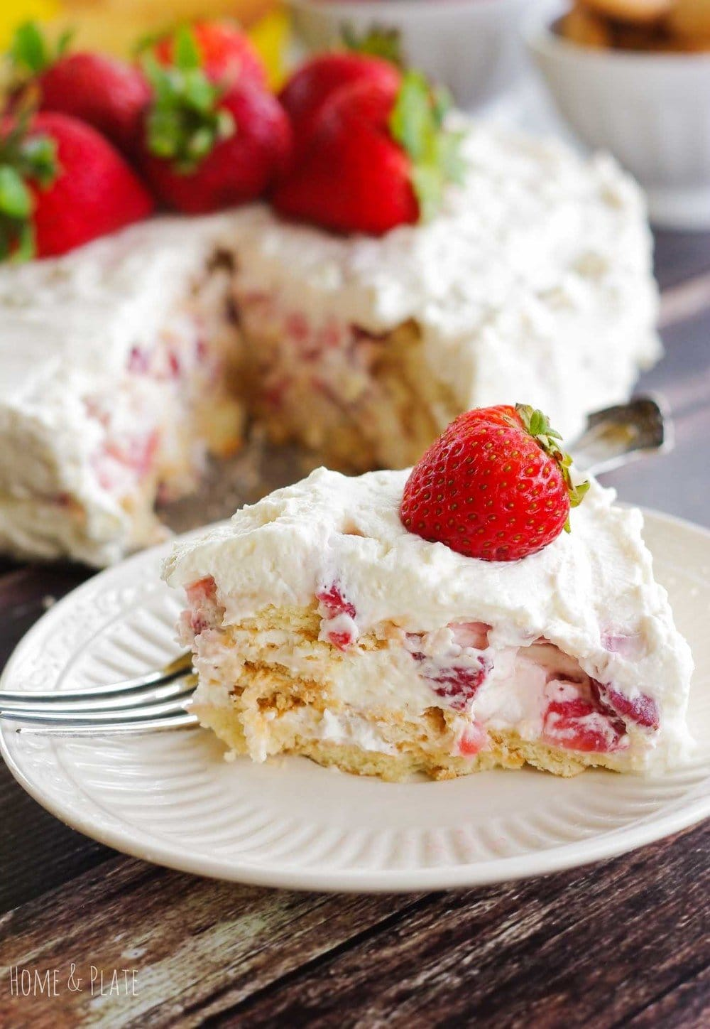Strawberry Ice Box Cake (No Bake Dessert)