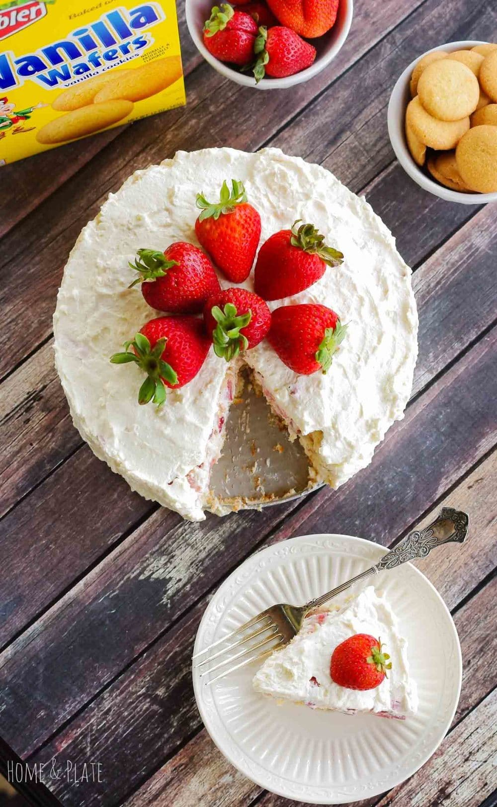 Strawberry Ice Box Cake with Vanilla Wafers | www.homeandplate.com | My Strawberry Ice Box Cake is an ideal way to kick off your summer celebrations. The key ingredient - Keebler Vanilla Wafers.  #BiteSizedBitsOfJoy #ad