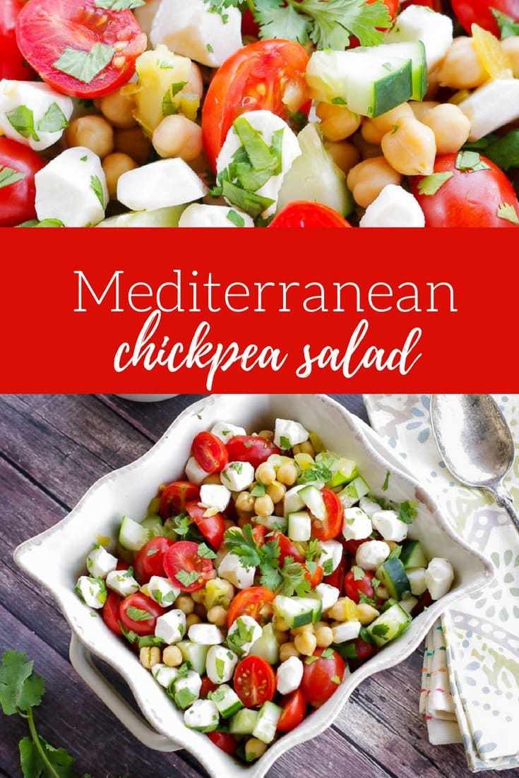 Mediterranean Chickpea Salad   www.homeandplate.com   Bring home the flavors of the Middle East in this easy and healthy chickpea salad. #chickpeas #salad #mediterranean
