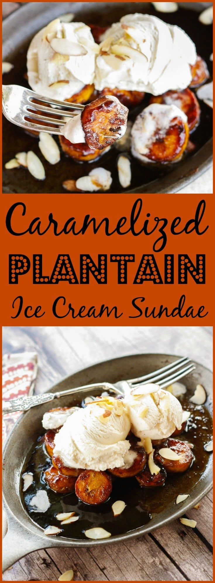 Caramelized Plantain Ice Cream Sundae | www.homeandplate.com | Turn an ordinary banana split into a dessert you could only get at a gourmet restaurant.