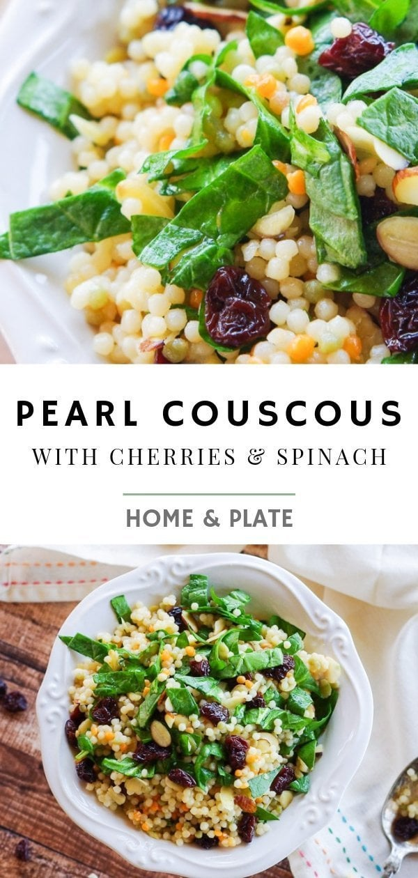 Pearl Couscous with Cherries & Spinach | This simple side salad features dried fruits and nuts in a couscous pasta salad.