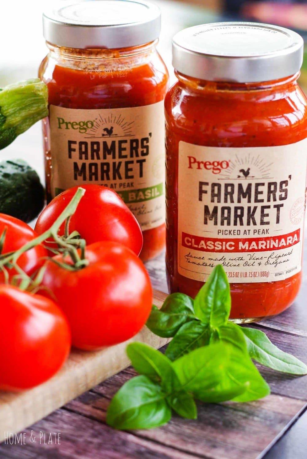 Fresh Zucchini Parmesan Stacks | www.homeandplate.com | Crispy zucchini, juicy tomato and fresh mozzarella are nestled in Prego®Farmers