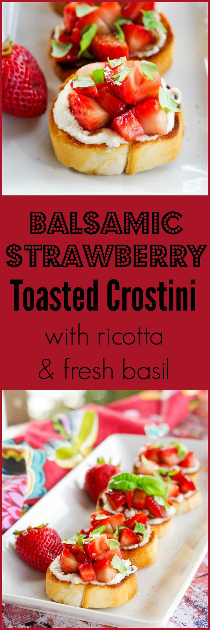 Balsamic Strawberry Toasted Crostini with Ricotta & Fresh Basil | www.homeandplate.com | Fresh balsamic strawberries served on toasted crostini with a honeyed ricotta and fresh basil make the perfect party appetizer.