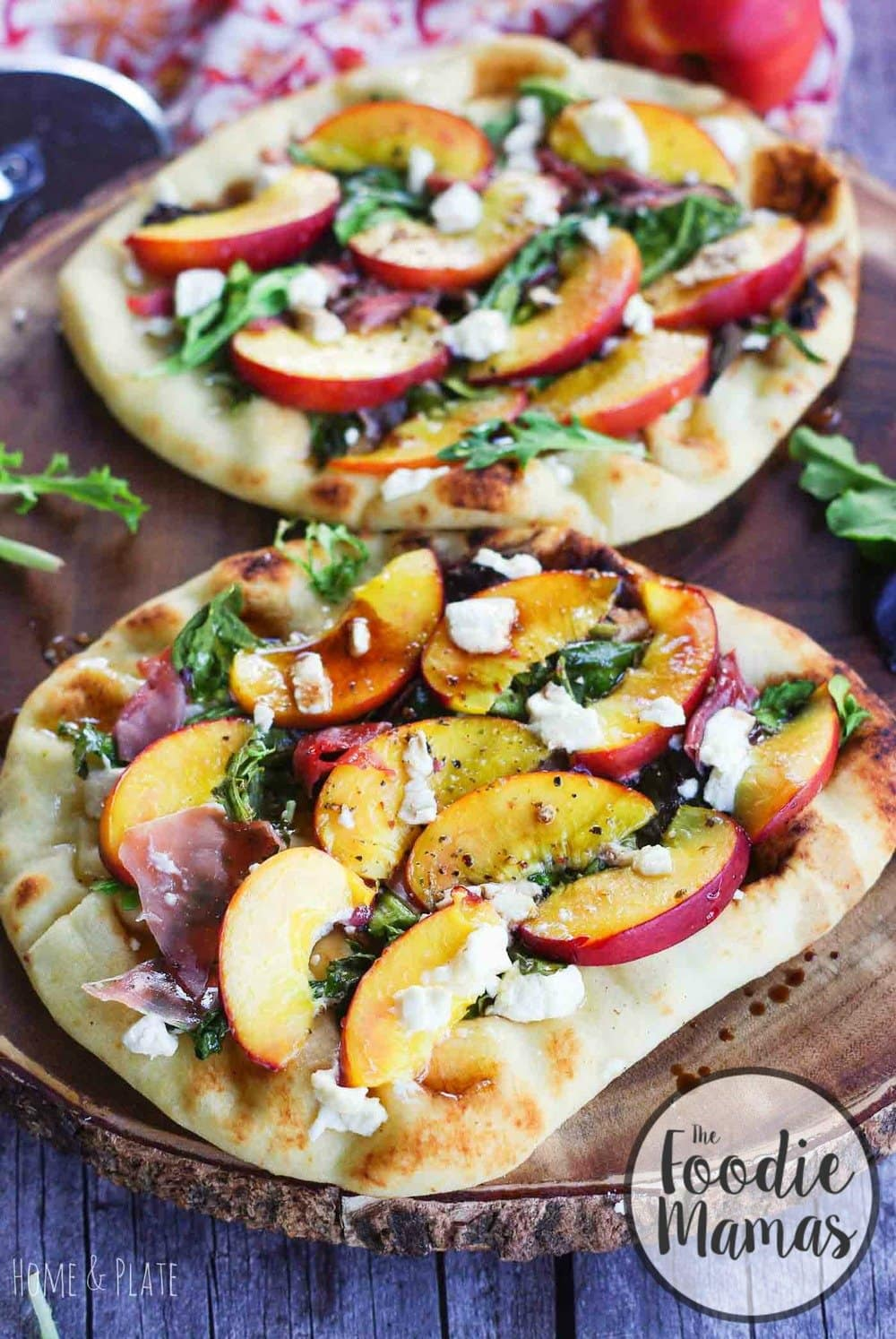 Goat Cheese Pizza with Nectarines & Prosciutto
