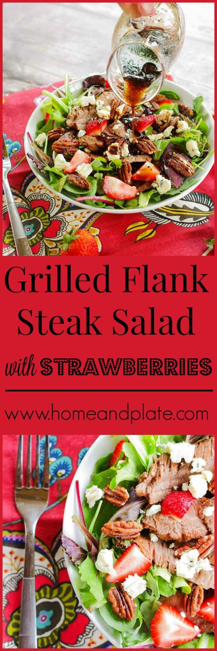 Flank Steak Salad with Strawberries |  This grilled Flank Steak Salad with Strawberries features marinated flank steak sliced thin and topped on a bed of greens with fresh summer strawberries.