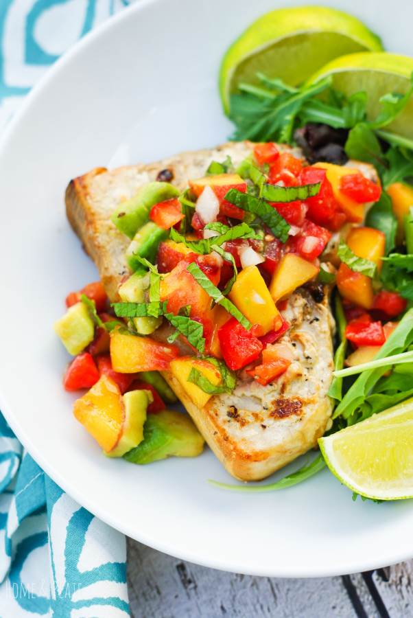 Grilled Swordfish with a Fruit Salsa | www.homeandplate.com | Take advantage of these late summer and fall evenings with a grilled swordfish dinner served with a fresh fruit salsa that