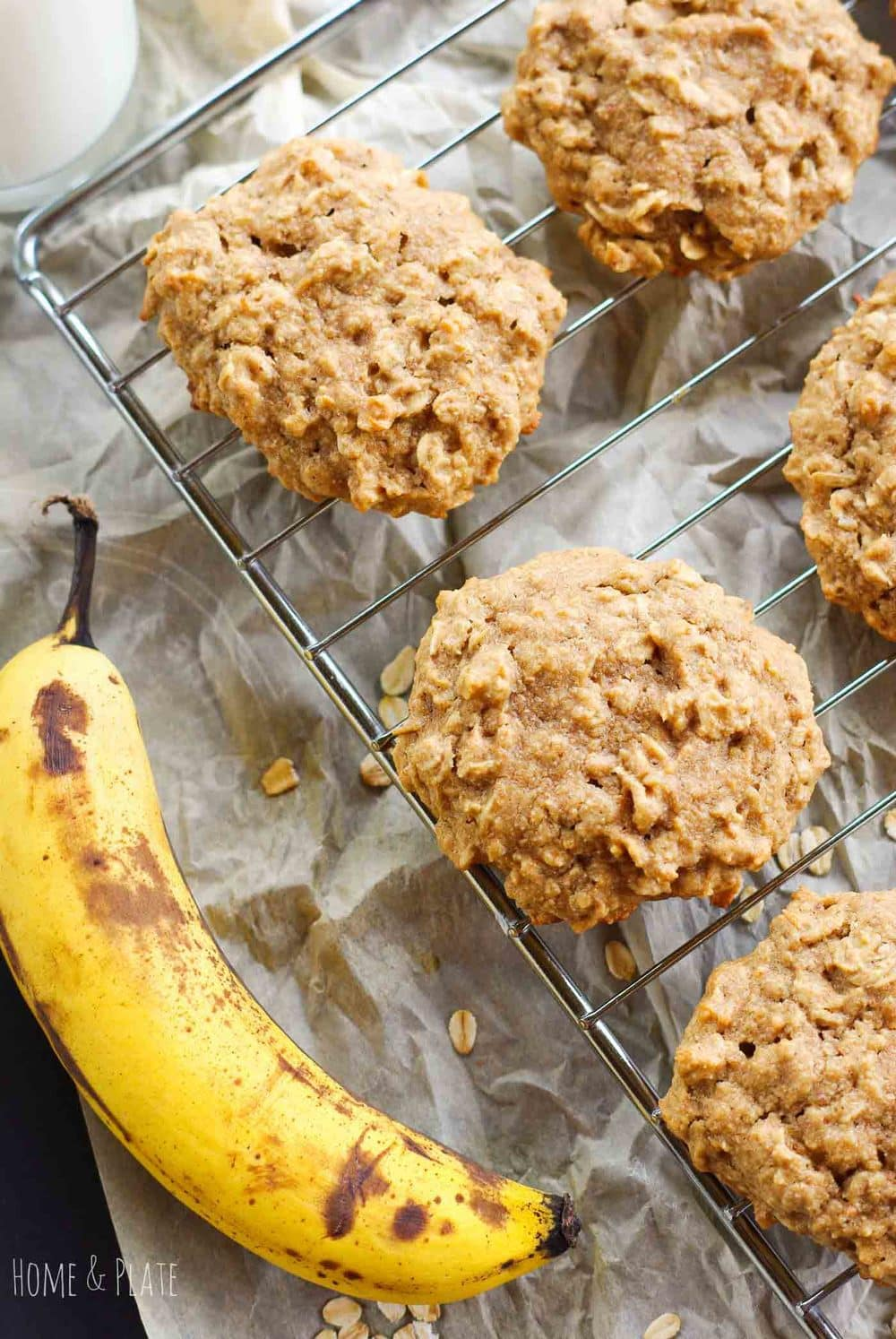 Healthy Peanut Butter Banana Cookies   www.homeandplate.com   Chock-full of oats, potassium filled bananas and protein-rich crunchy peanut butter, these sweet cookies are the perfect grab and go breakfast or snack.