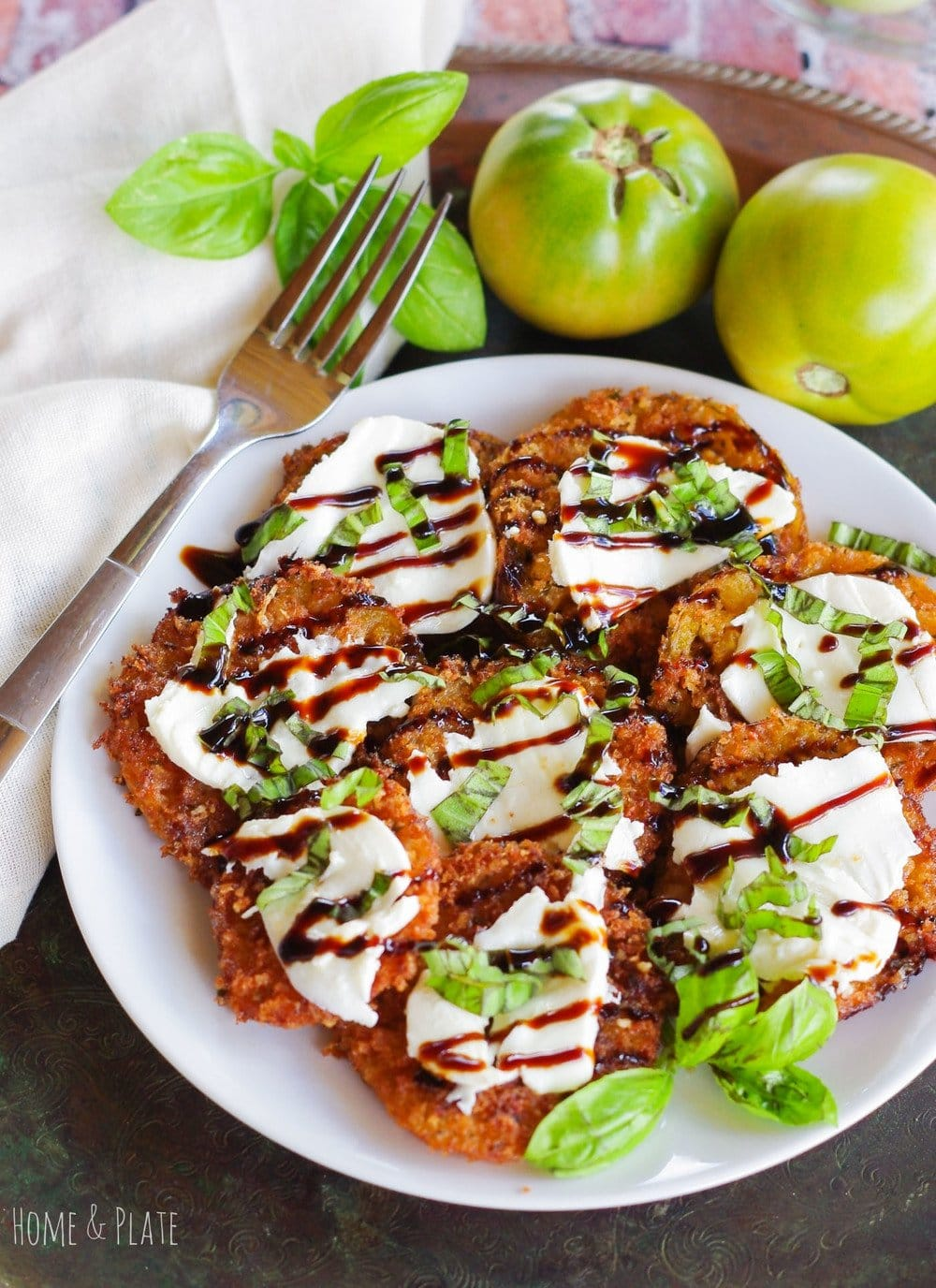 Panko & Parmesan Crusted Fried Green Tomatoes | www.homeandplate.com | Don