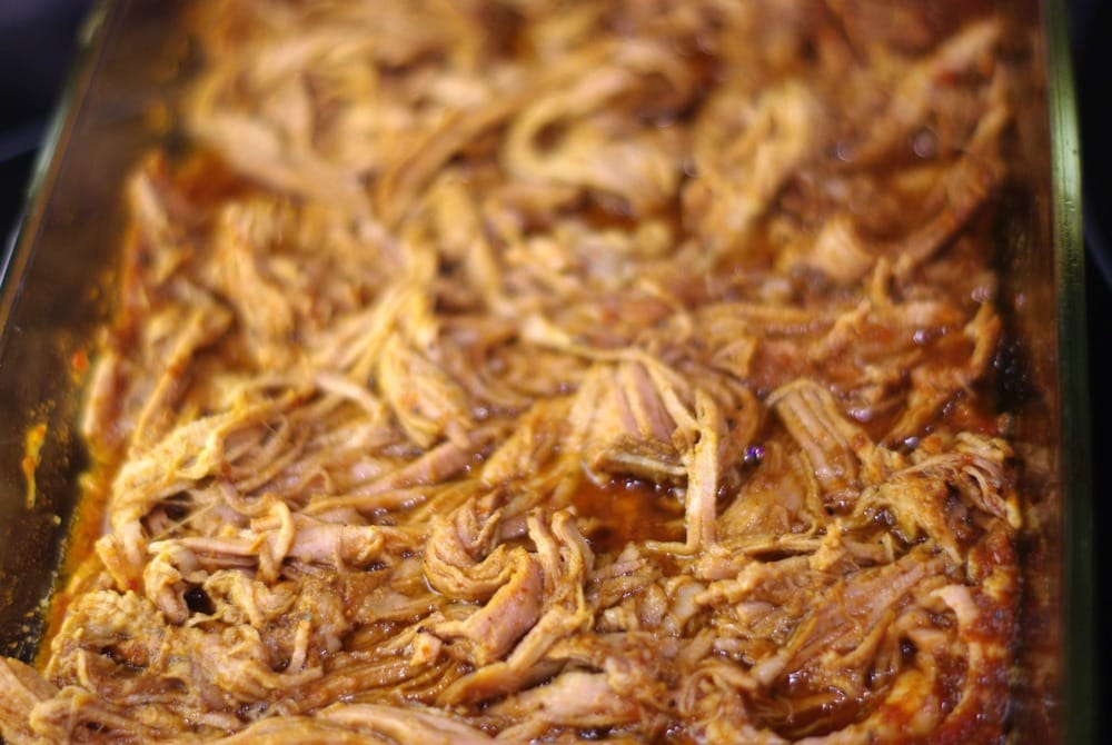 The pork is full of flavor and delicious alone, on bread or in tacos. Yum!